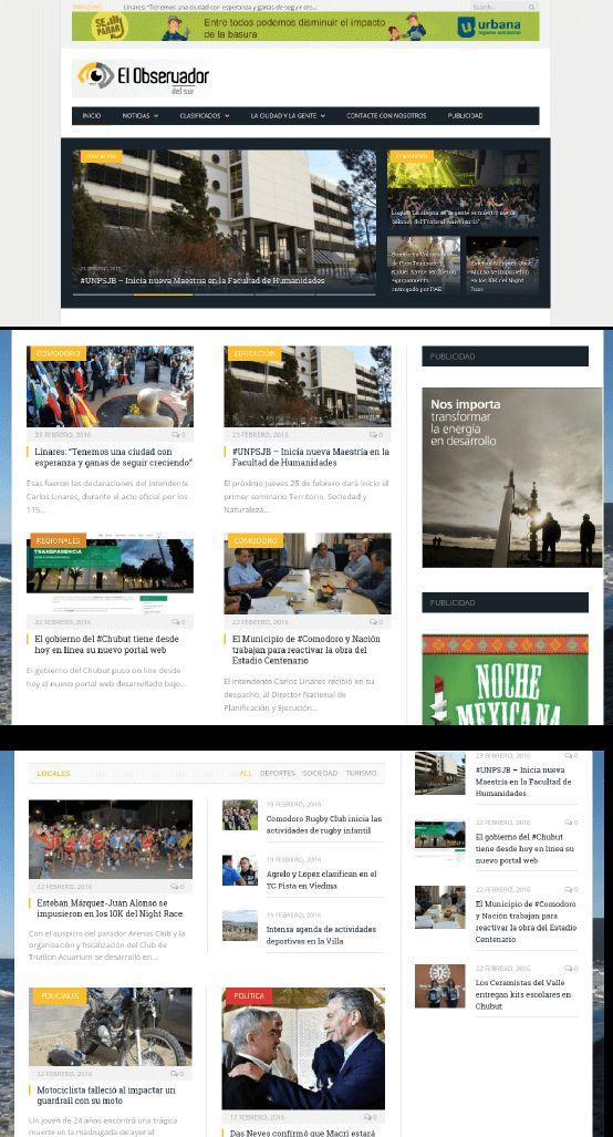 Periódico de Rada Tilly, Patagonia.  Sitio armado con Wordpress.