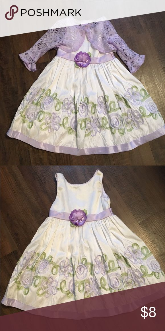 Girls dress White and purple spring dress comes with lace coverup. Dresses