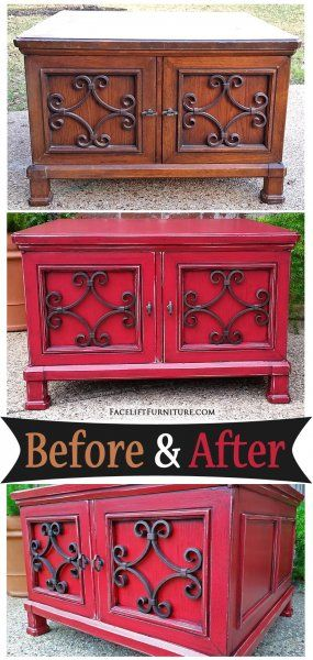 Barn Red Coffee Table Before After