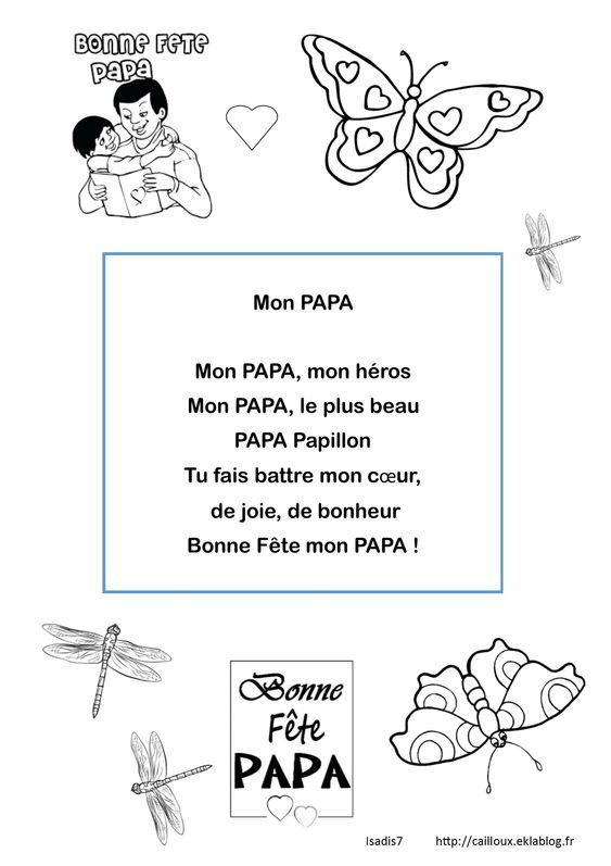 Papa Papillon La Maternelle D Isadis7 Poeme Fete Des Peres