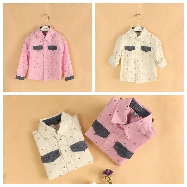 5 шт. / lot мальчики-младенцы длинный рукав рубашка якорь - принт пэчворк рубашка дети осень одежда европейский стиль