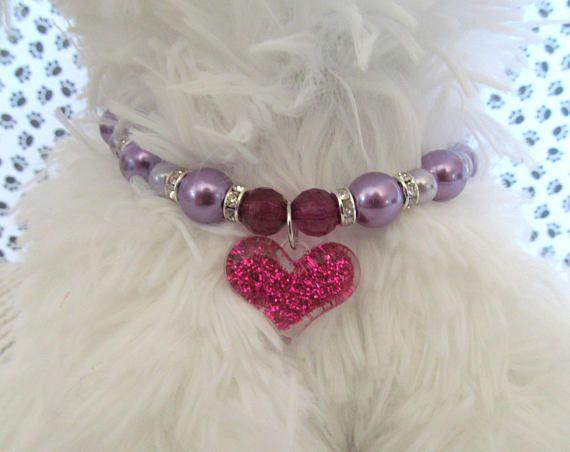 Collar de perro collar 12mm morado perla perla Collar de