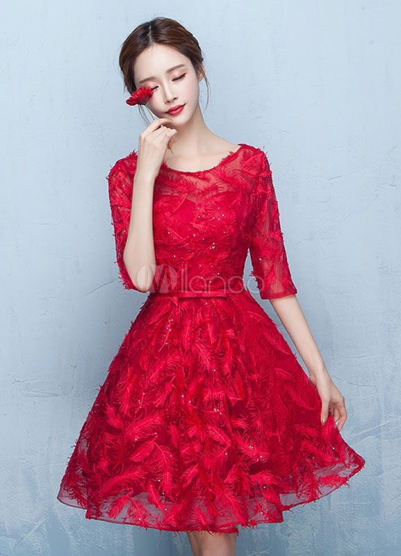 8ad3d4e18d67 Red Prom Dresses 2018 Short Cocktail Dress Lace Burgundy Feather Half  Sleeve Sash Keyhole Back A Line Knee Length Graduation Dress #Cocktail, # Short, #Lace