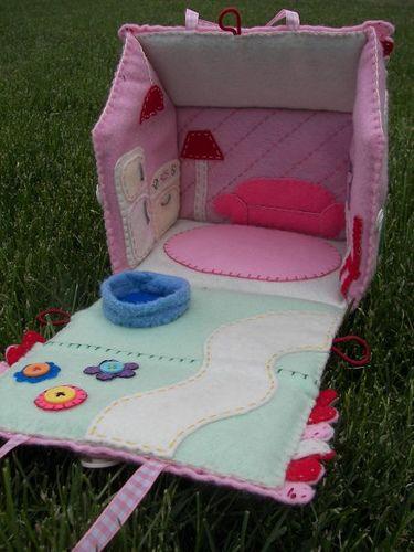 Fabric fold up doll house interior