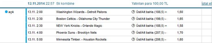 13.11. 2:00 Washington Wizards - Detroit Pistons Üst/Alt bahis (188,5) + 1,60   13.11. 2:30 Boston Celtics - Oklahoma City Thunder Üst/Alt bahis (199,5) - 1,65   13.11. 2:30 NEW York Knicks - Orlando Magic Üst/Alt bahis (188,5) + 1,58   13.11. 4:00 Phoenix Suns - Brooklyn Nets Üst/Alt bahis (207,5) - 1,70   13.11. 5:00 Minnesota Timber. - Houston Rockets Üst/Alt bahis (206,5) - 1,60