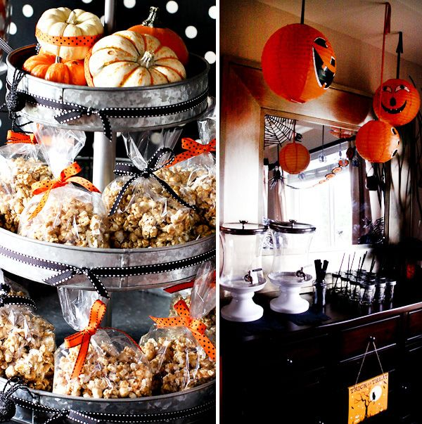 those simple metal tiered trays rock halloween tablescape