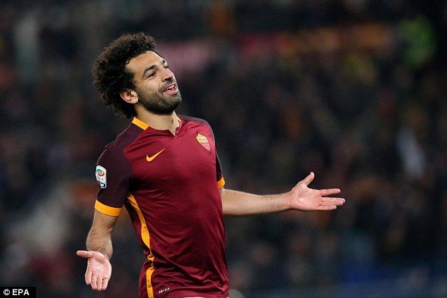 March 2016: Roma attacking midfielderMohamed Salah celebrates scoring his first goal against Fiorentina