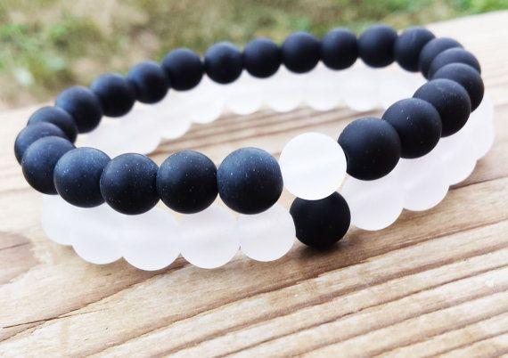 YINYANG Bracelet Black and White Bracelets Set by BohemianChicbead