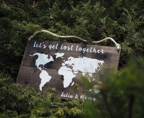 World Map Sign HAND PAINTED Let's get lost together