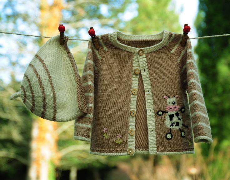 layette ensemble vache 1 mois en laine mérinos neuf tricoté main gilet et bonnet…