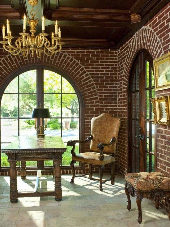 LOVE these brick arched windows and wood ceiling.  Would make an awesome office or studio room.: Brick Color, Arched Windows, Brick Wall, Design Ideas, Brick Arches, Arches Window, Brick Interiors, Traditional Home Offices, Traditional Homes