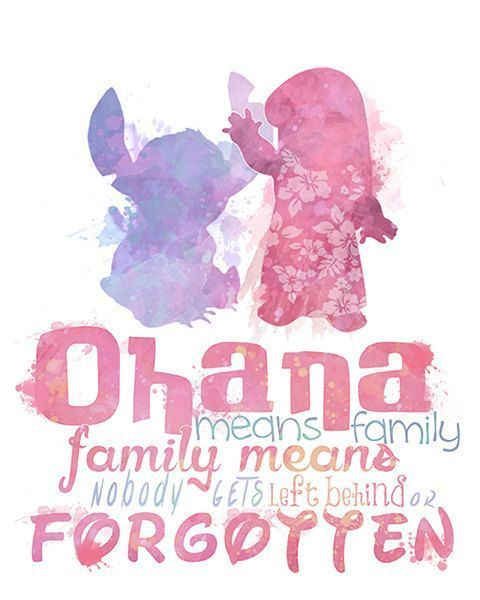 "Lilo and Stitch ""Ohana Means Family"" Printable 8×10 Poster — DIGITAL / Instant Download / Disney Wall Art / Home Decor / Watercolor Quote"