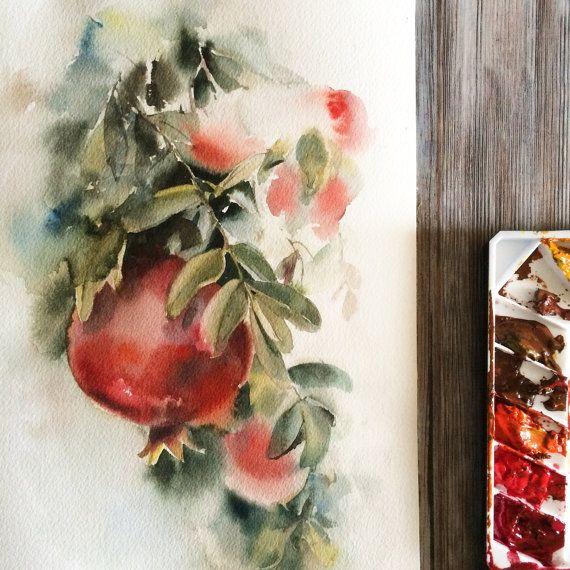 Granadas de pintura acuarela ORIGINAL granadas rojo por CanotStop