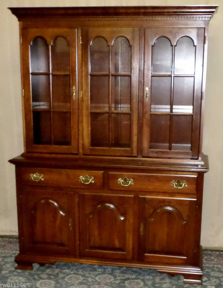 VINTAGE Colonial Furniture Cherry China Cabinet, Hutch With Lights  #ColonialFurnitureInc