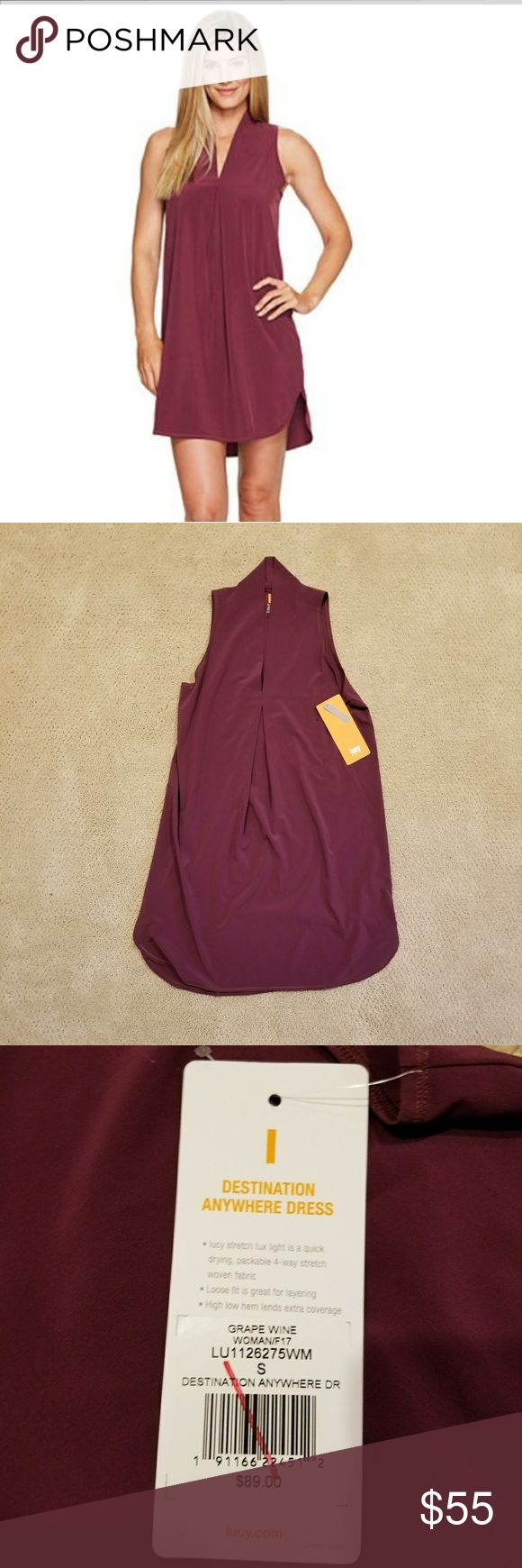 NWT! Lucy Destination Anywhere Dress NWT! Comfortable, light weight fabric. Quick drying. Great for layering. Grape Wine color. Cute as a dress or with leggings and boots for winter. Lucy Dresses Mini