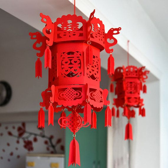 Chinese wedding double happiness 3D lantern felt lantern