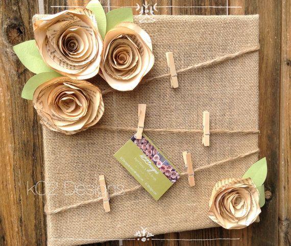 Tablero de corcho y arpillera para mensajes - Cork board. Message board. Note board. Burlap shabby by kC2Designs
