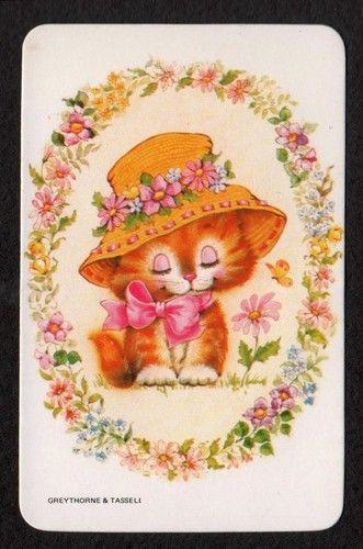 Vintage Swap Card - Cute Kitten In Hat with Flowers