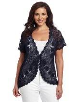 Jones New York Women's Plus-Size Hand Crochet Cardigan