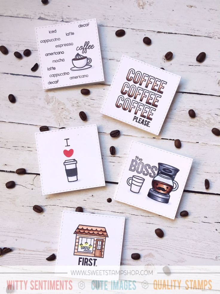 Coffee Cards created by Thanh Vo using the Sweet Stamp Shop Coffee Town, Coffee Boss and Cuppa Coffee stamp sets #ssscoffeetown #ssscoffeeboss #ssscuppacoffee