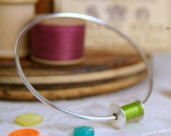 Cotton Reel Silver Bangle, Silver Bobbin Bracelet, Seamstress Gift, Sewing Gift, Handmade Jewelry,2nd Wedding Anniversary Gift, ANY COLOUR