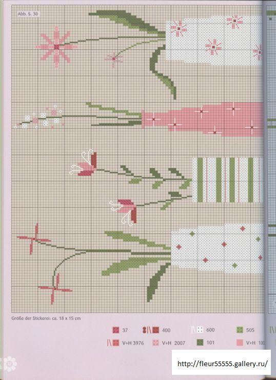 Kanaviçe çiçek modern naturel mini tablo