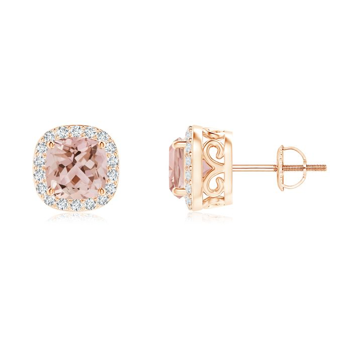 Cushion Morganite and Diamond Halo Stud Earrings with Scroll Motifs. Cushion-cut morganite beauties are prong set in 14k rose gold to give you a pair of earrings that you'll love to wear. The fascinating charm of the morganites is enhanced by the striking diamond halo.