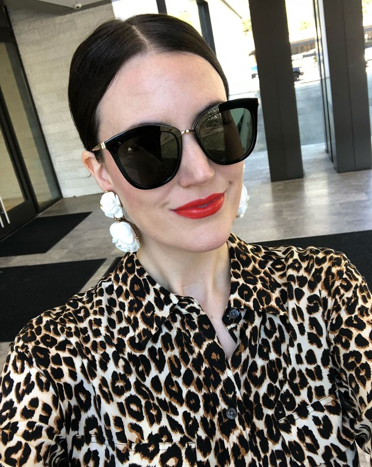 Still fighting a cold, but nothing a red lip, new pair of sunnies & a pop of leopard can't fix! ❤️🕶🐆 Shop my $79 sunglasses & leopard top that are both included in the @shopbop sale with @liketoknow.it 💋 #liketkit http://liketk.it/2uPoX #LTKunder100 #LTKsalealert