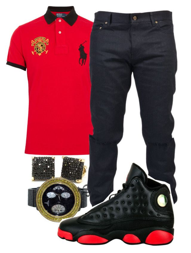"""""""Drenched In Designer"""" by crenshaw-m4fia ❤ liked on Polyvore featuring Polo Ralph Lauren, Yves Saint Laurent, Retrò, men's fashion and menswear"""