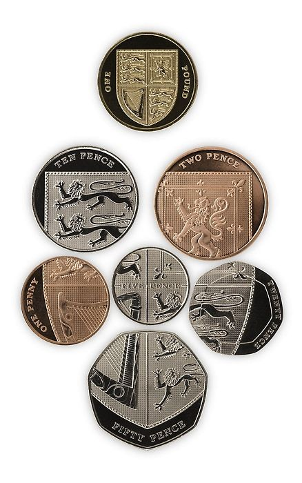 British coins can be arranged to make the Royal Coat of Arms, which features on the £1 coin shown at the top of the picture