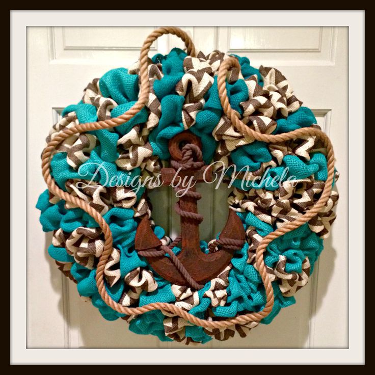 Blue Turquoise and Gray Chevron Nautical Anchor Wreath (New), BR073 - Designs by Michela