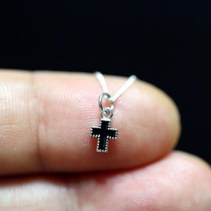 Sterling Silver 925 Slim Pendant CHRISTIAN CROSS BK mini Charm Necklace + Chain