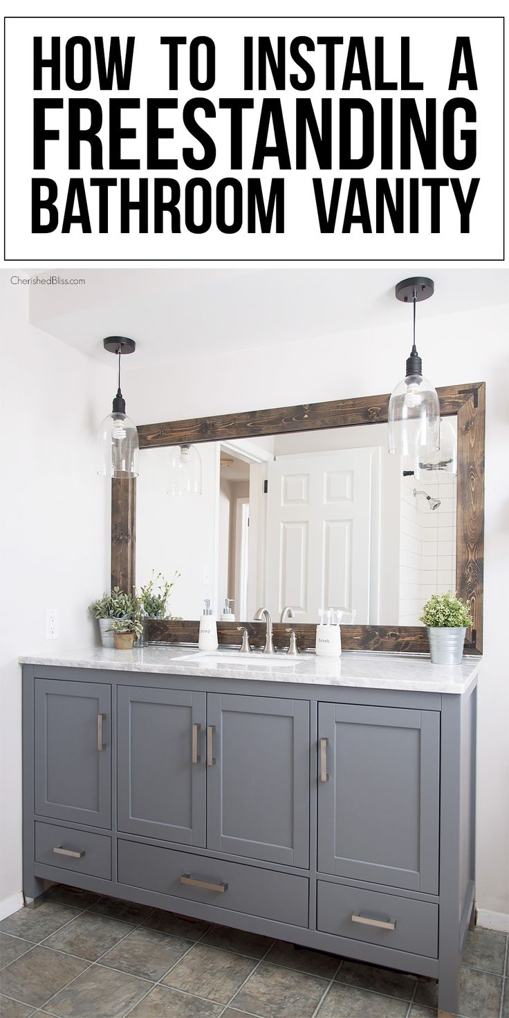 How to install a freestanding bathroom vanity vanities - Mirrored free standing bathroom cabinet ...
