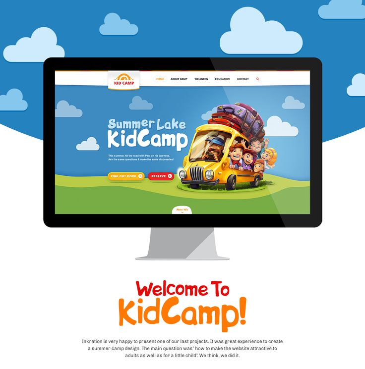 "It was great experience to create a summer camp design. The main question was ""how to make the website attractive to adults as well as for a little child"" We think, we did it."