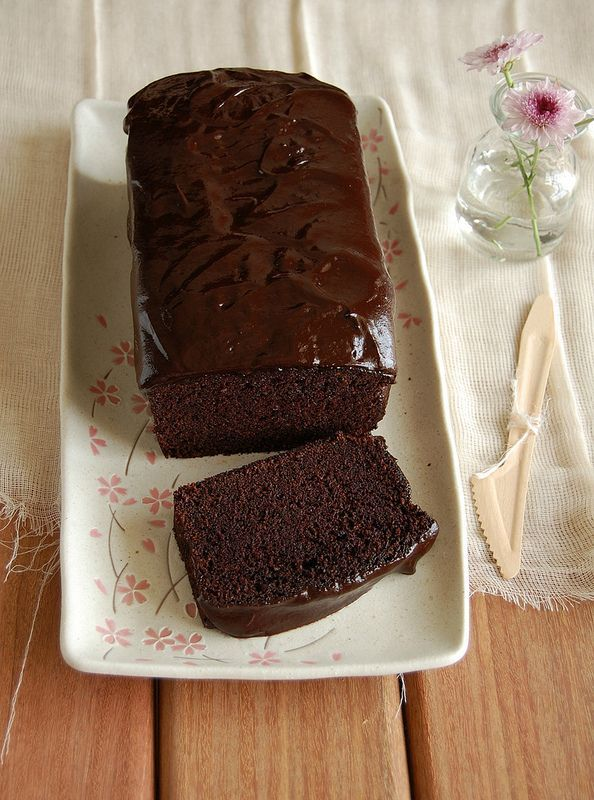 the best, moist, dense cocoa loaf cake (oil based) with a smooth double chocolate glaze