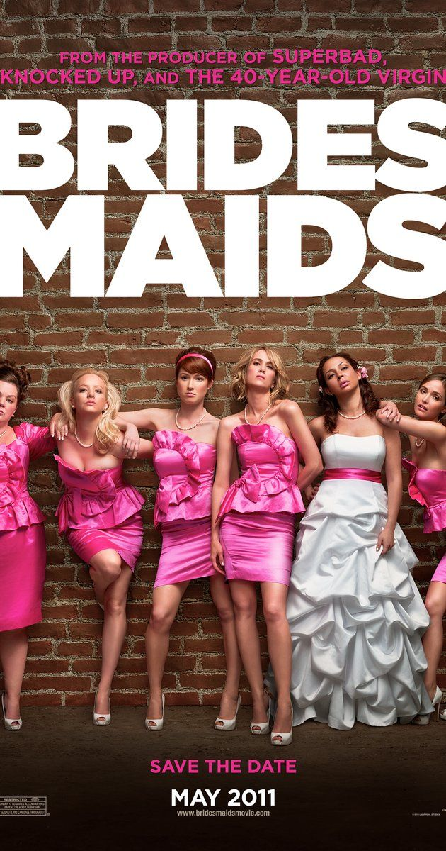 Directed by Paul Feig.  With Kristen Wiig, Maya Rudolph, Rose Byrne, Terry Crews. Competition between the maid of honor and a bridesmaid, over who is the bride's best friend, threatens to upend the life of an out-of-work pastry chef.