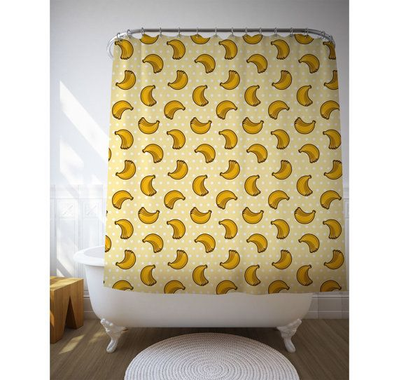 Yellow Bananas Shower Art, Graphic Curtain, Tropical Decor, Fun Shower  Curtain, Bath Accessories
