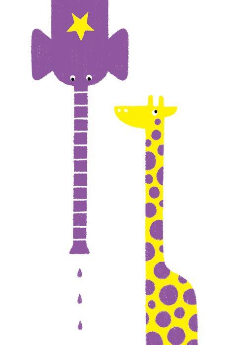 POSTCARD / Elephant & Giraffe
