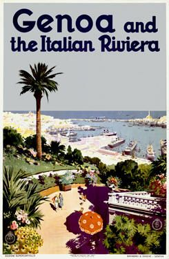 Vintage Italy Travel Poster - Genoa, Italy.  http://www.amazon.com/La-TAVOLA-Adventures-Misadventures-American/dp/1463618123