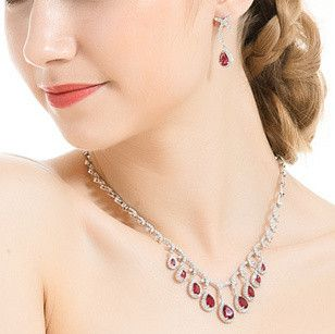 Ruby Drop Necklace and Earrings set