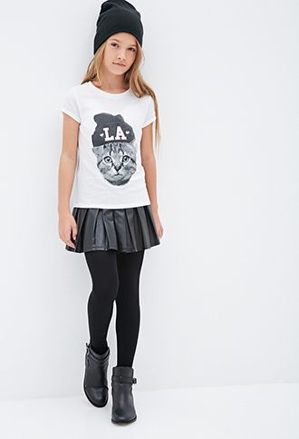 Sparkly LA Cat Tee (Kids) | Forever21 girls - 2000100821