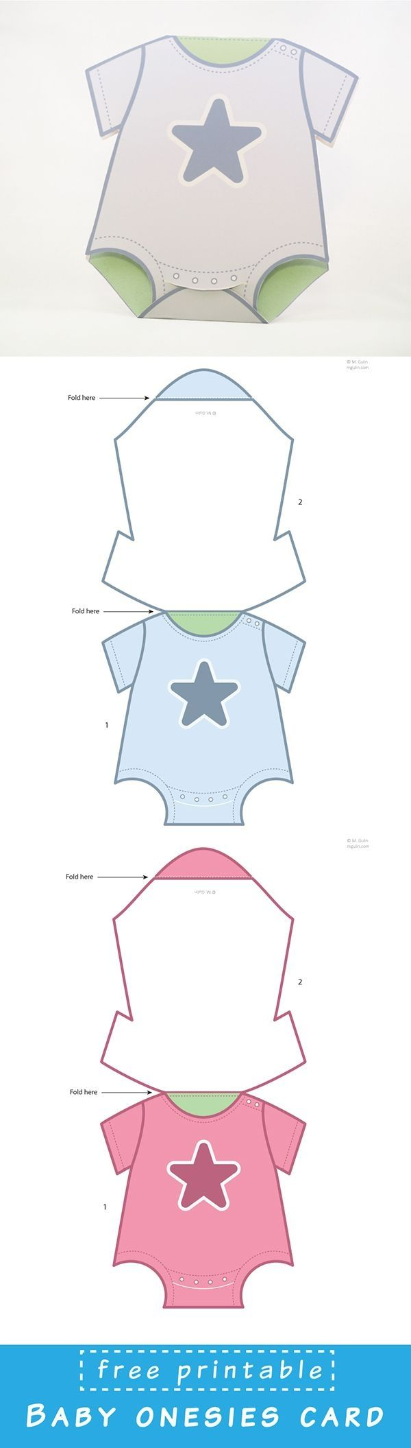 Free Printable Baby Onesies Card template. Just dowload and assemble. by britta.hansen.900