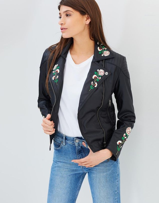Crafted from PETA-approved vegan leather, the Marie Vegan Leather Embroidered Biker Jacket by James&Co is a fitting choice for the ethically conscious. We adore the quilted shoulders and blooming floral embroidery to the collar and sleeves that adds a feminine edge to any outfit.