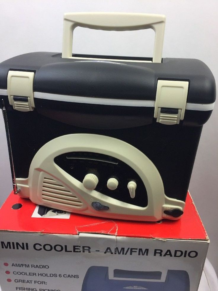 LC Mini Cooler AM / FM Radio Lunchbox with Pull Out Antenna & Headphone Jack. | eBay!