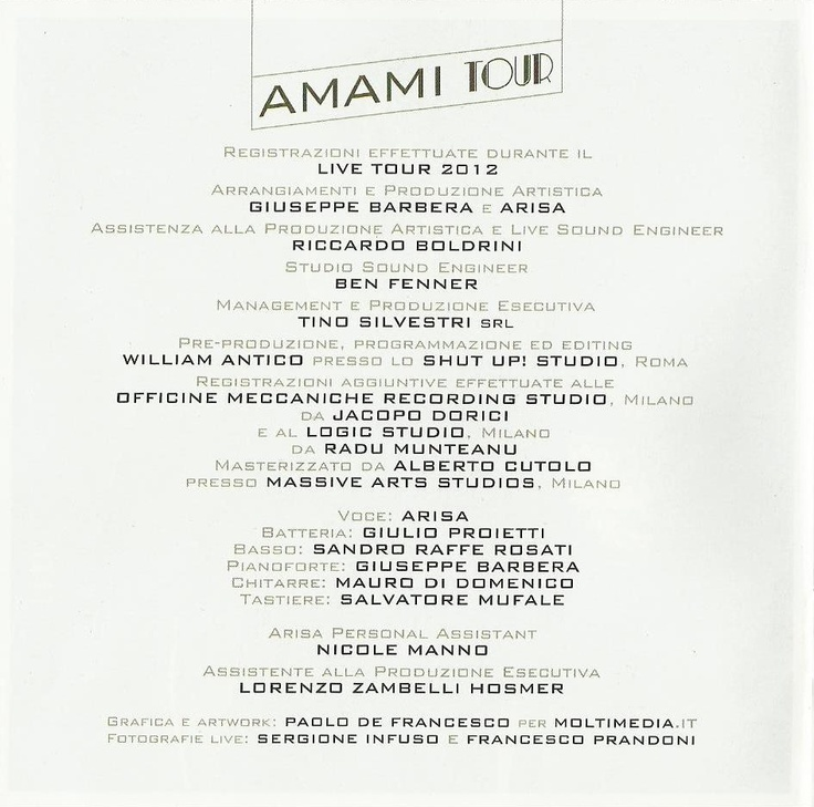 """""""Amami tour"""" (2012) di Arisa tratto dai concerti live!  Arrangiamento e produzione artistica di Giuseppe Barbera."""