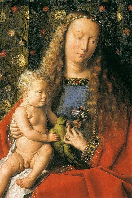 Jan van Eyck:  (detail) The Madonna of Canon van der Paele (1436) Madonna & child with parakeet