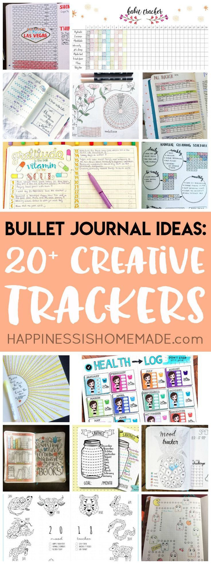 Looking for bullet journal ideas? These creative bullet journal tracker charts will help you get organized, save money, lose weight, and boost your mood! via @hiHomemadeBlog