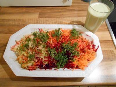 Rezept: Regenbogensalat mit Joghurtdressing