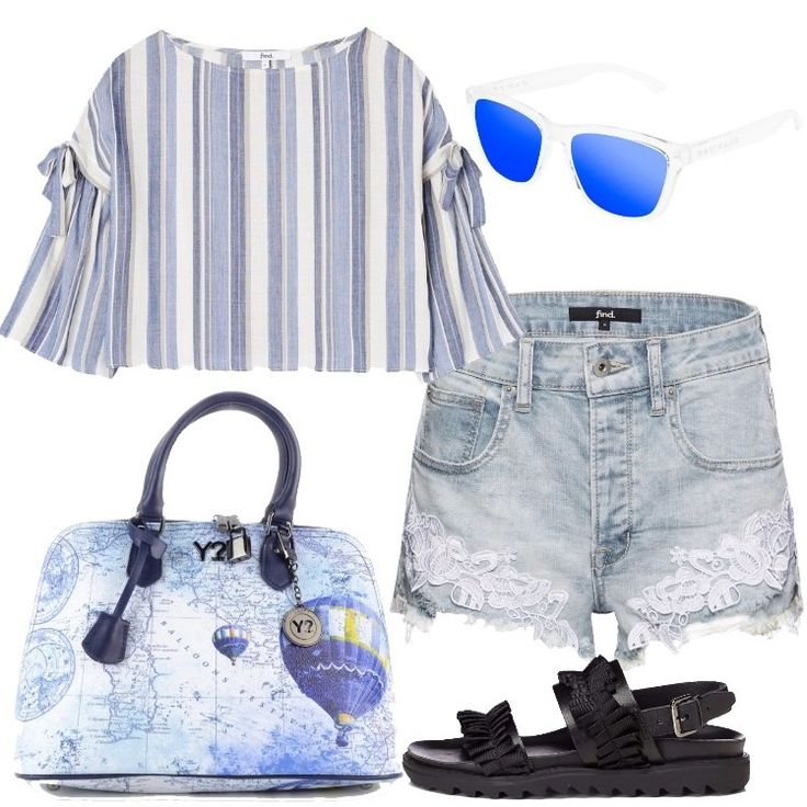 L'outfit è composto da una blusa con scollo a barchetta, un paio di pantaloncini con inserti in pizzo, un paio di sandali neri in pelle e da una borsa.