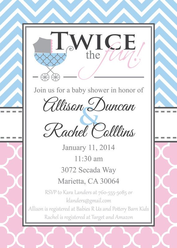 Double Baby Shower Invitation Gender Neutral Baby by graceandglee